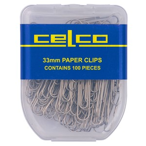 Celco Paper Clips 33mm Silver Pack 100
