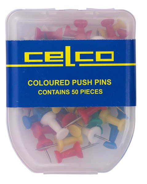 Celco Push Pins Assorted Colours Pack 50 - pr_402719