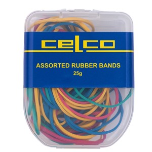 Celco Rubber Bands Assorted Sizes Pack 25gm