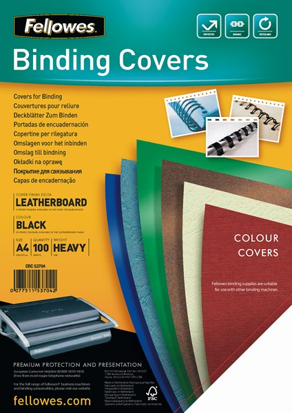 Fellowes Binding Covers Leatherboard A4 250gsm Black Pack 100 - pr_1721285