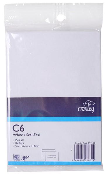 Croxley Envelopes C6 Seal Easi Non Window White Pack 20 - pr_402728