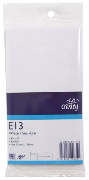 Croxley Envelopes E13 Seal Easi Non Window White Pack 20 - pr_402724