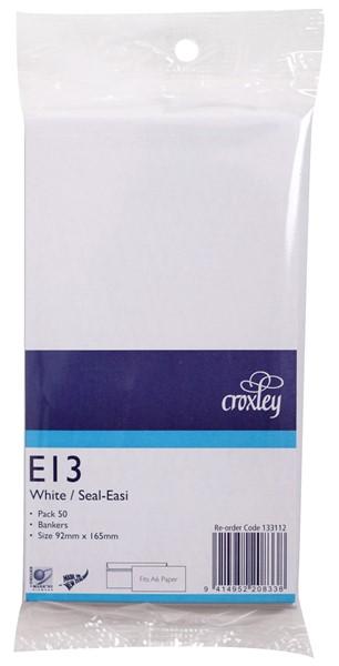 Croxley Envelopes E13 Seal Easi Non Window White Pack 50 - pr_402723