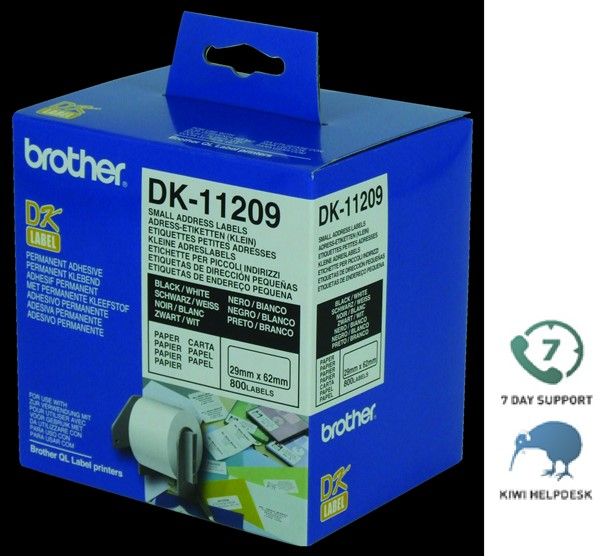 Brother Label DK11209 Paper 29mmx62mm -