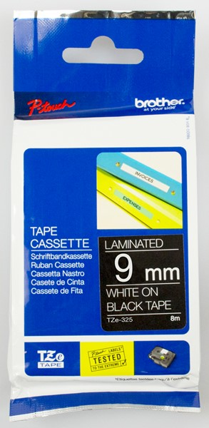 Brother P-Touch Tape TZE325 9mm White on Black -