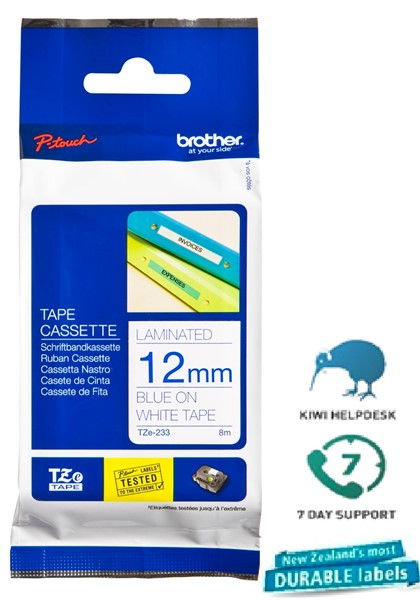 Brother P-Touch Tape TZE235 12mm Blue on White 8m -