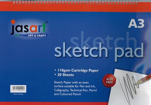 Jasart Sketch Pad Spiral A3 20 Sheet -