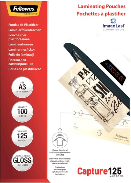 Fellowes Laminating Pouches A3 Gloss 125 Micron Pack 100 -