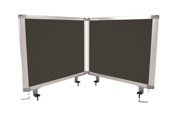 Boyd Visuals Desk Mounted Partition 450 x 1460mm Charcoal - pr_403800