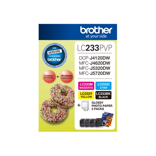 Brother LC233PVP Colour Ink Cartridge 4 Pack Plus Photo Paper -