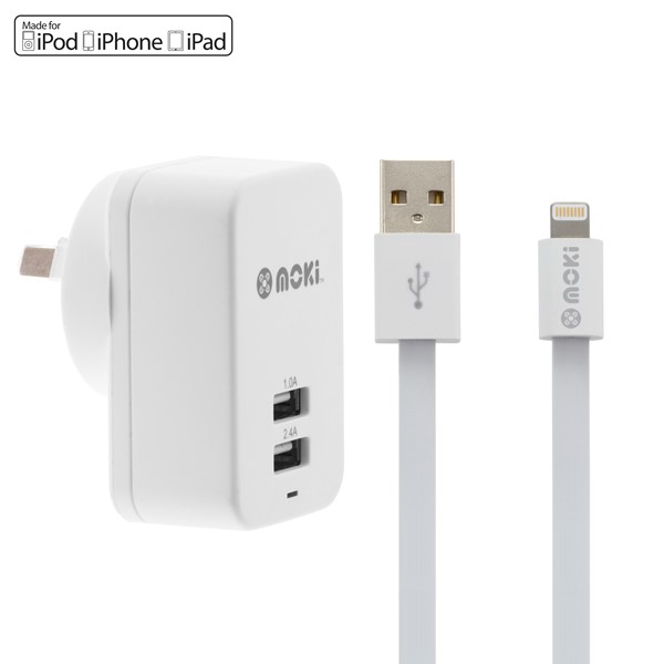 Moki Lightning Syncharge Charger Cable n Wall -