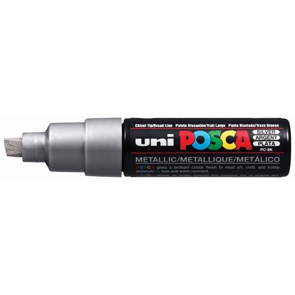 Uni Posca Marker 8.0mm Bold Chisel Silver -