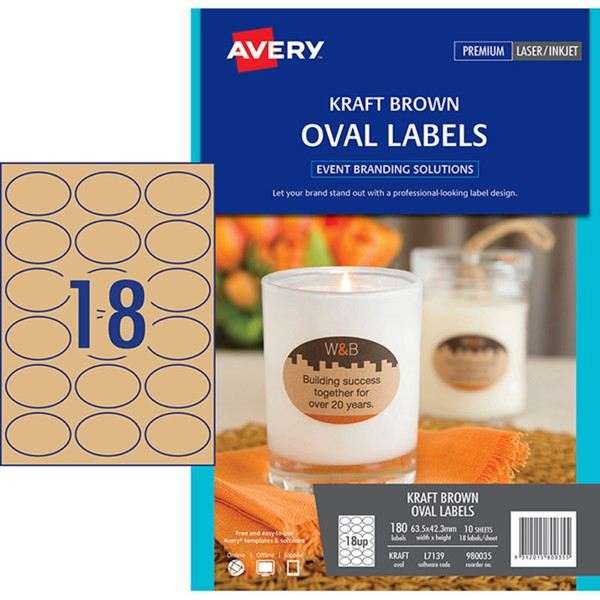 Avery Label L7139 Oval Kraft Brown 18up 10 Sheets -