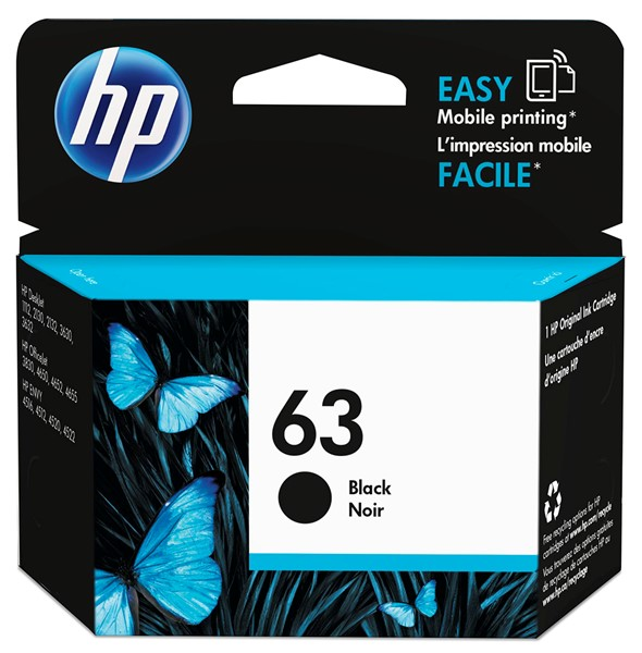 HP Ink Cartridge F6U62AA 63 Black -