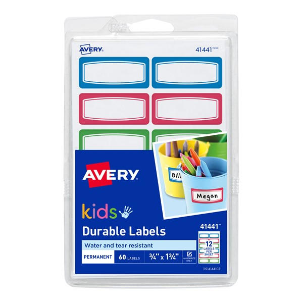 Avery Label Kids Durable Green Blue Red Border 44x19mm 12up 5 Sheets - pr_1777038