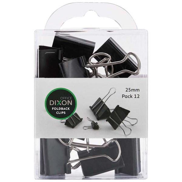 Dixon Foldback Clips 25mm Pack 12 -