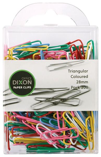 Dixon Paper Clips 28mm Tri Coloured Pack 200 -
