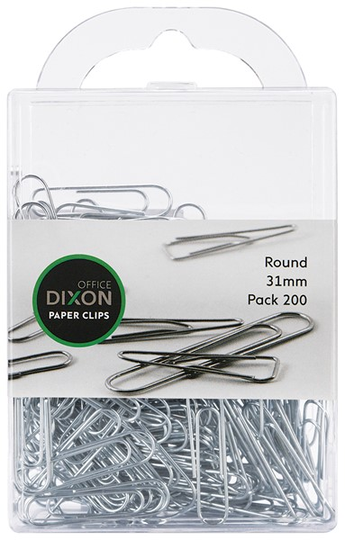 Dixon Paper Clips 31mm Round Pack 200 -
