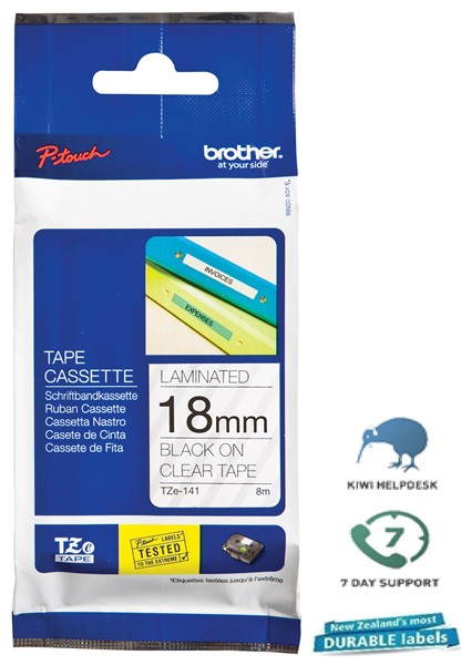 Brother P-Touch Tape TZE141 18mm Black On Clear -