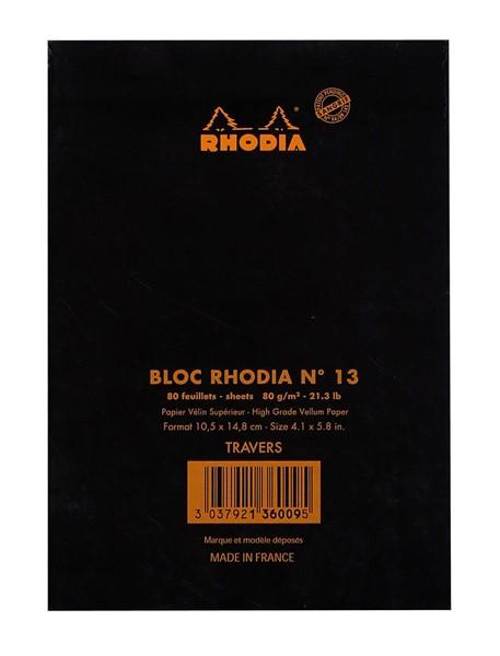 Rhodia Bloc Pad No. 13 A6 Lined Black -