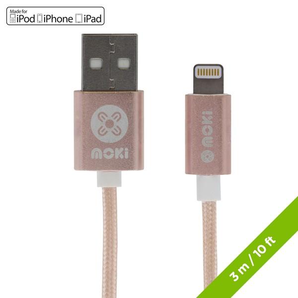 Moki Braided Light Cable 3M/10FT Rose Gold -