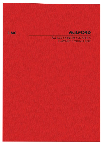 Account Book Milford Limp A4 3MC Red -