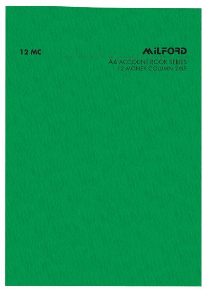 Account Book Milford Limp A4 12MC Green -