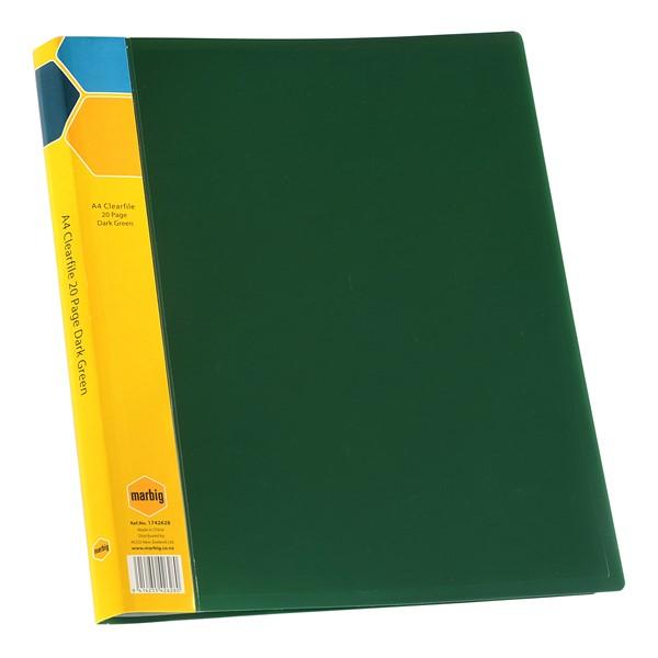 Marbig Display Book Insert Spine A4 20 Pockets Dark Green -