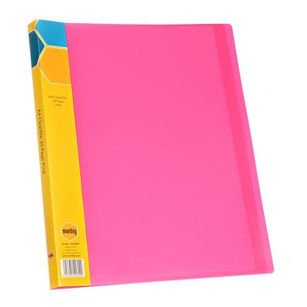 Marbig Display Book Insert Spine A4 20 Pockets Pink - pr_1702243