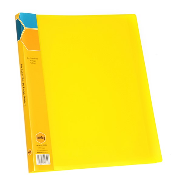 Marbig Display Book Insert Spine A4 20 Pockets Yellow -