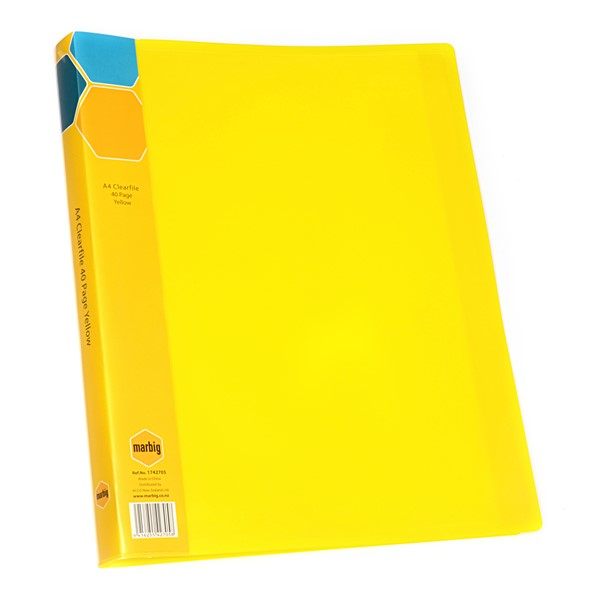 Marbig Display Book Insert Spine A4 40 Pockets Yellow -