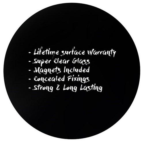 Boyd Visuals Round Magnetic Glass Writing Board Black 1200mm - pr_1699522