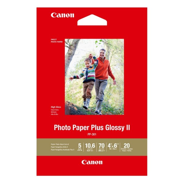 Canon PP-301 4x6 Glossy II 275gsm Photo Paper - 20 Sheets -