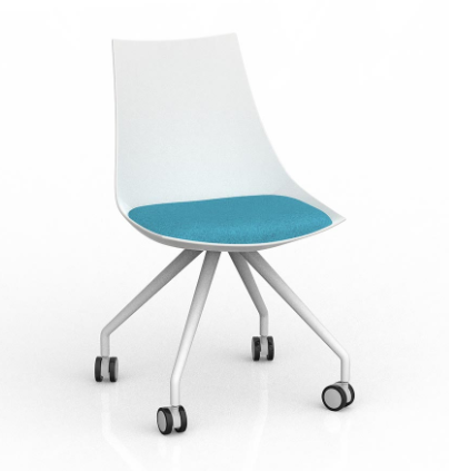 Knights Luna Chair White With Castor Base -