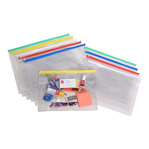 Marbig PVC Transparent Data Wallet With Zip Lock A4 Assorted -