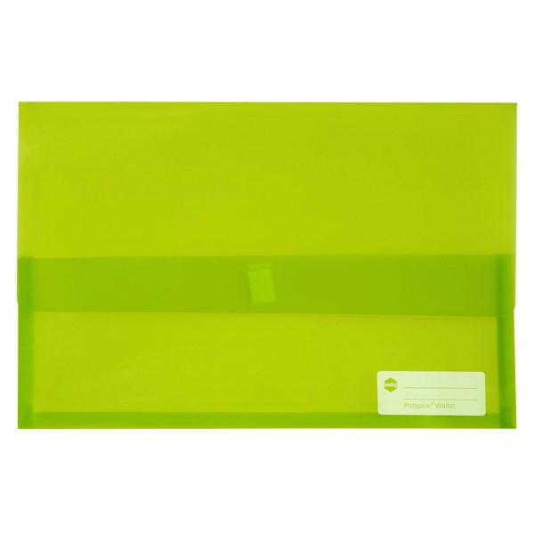 Marbig Polypick Document Wallet Foolscap Transparent Lime -