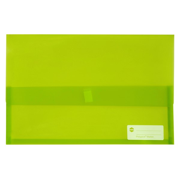 Marbig Polypick Foolscap Document Wallet Transparent Lime - pr_1702616