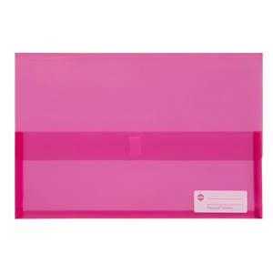 Marbig Polypick Foolscap Document Wallet Transparent Pink