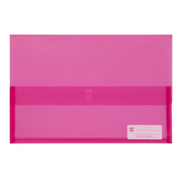 Marbig Polypick Foolscap Document Wallet Transparent Pink - pr_1702655