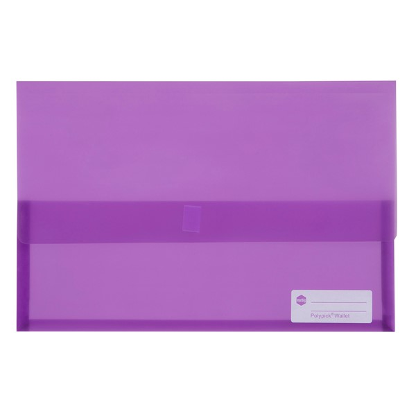Marbig Polypick Document Wallet Foolscap Transparent Purple -