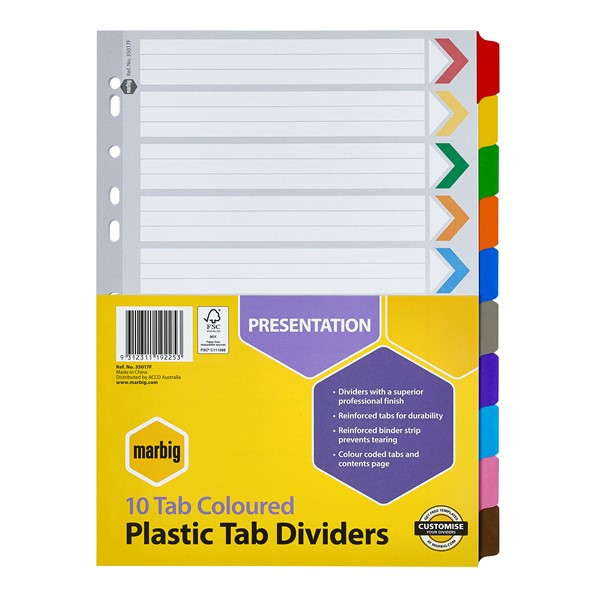 Marbig Dividers Reinforced A4 10 Tab Multi-Coloured - pr_1702351