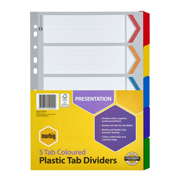 Marbig Dividers Reinforced A4 5 Tab Multi-Coloured - pr_1702727