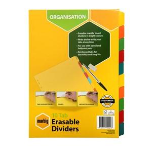 Marbig Erasable Manilla Dividers A4 10 Tab Multi-Coloured