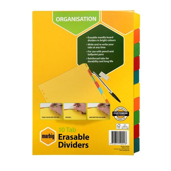 Marbig Erasable Manilla Dividers A4 10 Tab Multi-Coloured - pr_1702275