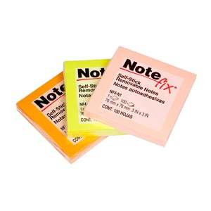 Notefix Self-Stick Notes 76mm x 76mm Assorted Neon