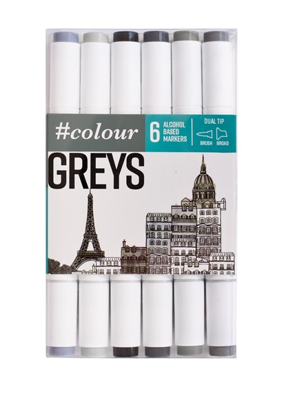 Colour Markers Grey 6 Pack - pr_1702478