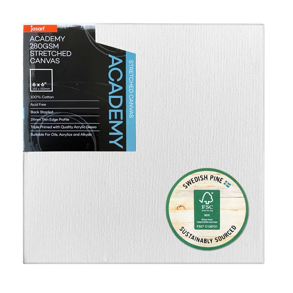 "Jasart Academy Stretched Canvas 3/4"" Thin Edge 6x6"" - pr_1702597"