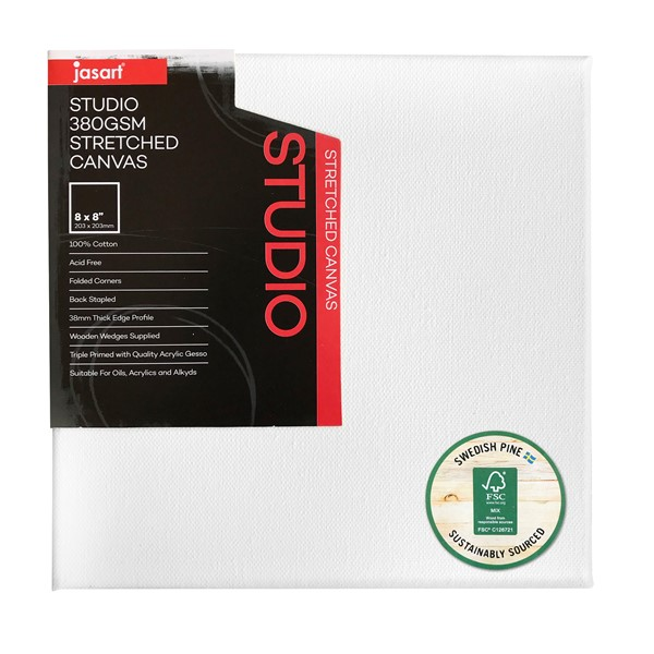 "Jasart Studio Stretched Canvas 1 1/2"" Thick Edge 10x10"" -"