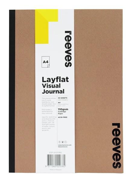 Reeves Visual Journal A4 Layflat Kraft Cover 30 Sheets -