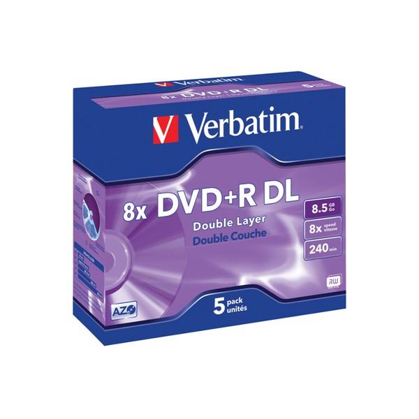 Verbatim DVD+R DL 8.5GB 8x Jewel Case 5 Pack -